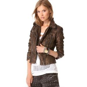 Free People bronze Metallic faux leather jacket 0